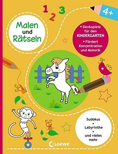 Malen und Rätseln - Denkspiele für den Kindergarten (4+): Beschäftigung für Kinder zur Förderung der Feinmotorik und Konzentration