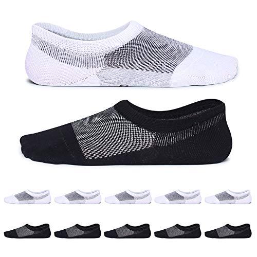 YouShow Füßlinge Sneaker Socken Herren 43-46 Damen 10 Paar Schwarz Weiß No Show Silikon socken damen