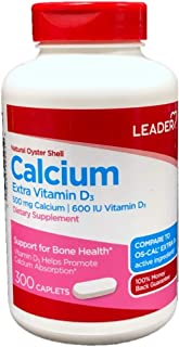 Leader Natural Oyster Shell Calcium with Extra Vitamin D3, 300 Caplets