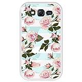 Hapdey Funda Transparente para [ Samsung Galaxy Grand Lite - Grand Neo - Neo Plus ] diseño [ Ilustración botánica florecida, Rosas Rosadas ] Carcasa Silicona Flexible TPU