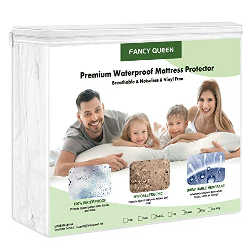 "FANCY QUEEN Bedding Mattress Protector, 100% Cotton Terry Hypoallergenic Mattress Pad Cover Fitted 14""-18"" Deep, Breathable & Noiseless Mattress Protection Cover, Vinyl Free"