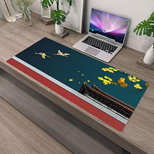 Laptop Tischunterlage Vintage Muster Mauspad Gummi Waschbar Große Sperre Rand Pad Computerspiele Große Matten Desktop Dekoration 400X900X3Mm