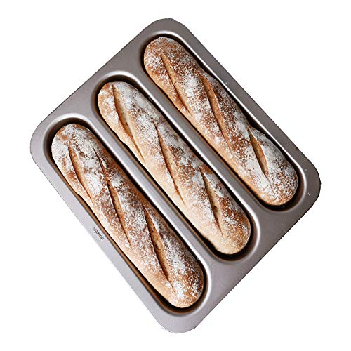 """LUFEIYA Perforated Baguette Pan 3 Loaf French Bread Tray for Baking 15"""" x 13"""" Wave Loaves Bake Mold Toaster Oven Safe"""