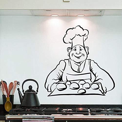 Muursticker koken brood bakken muursticker keuken binnenhuisarchitectuur muurkunst afbeelding verpakking cafe winkel decoreren vinyl sitecker 57X57CM zwart