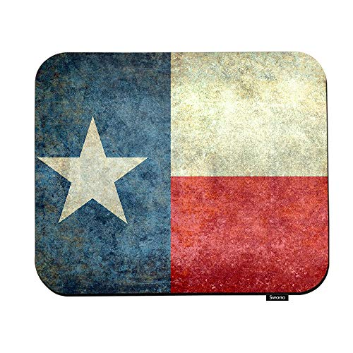 Swono Texas Grunge Flag Mouse Pads The Lone Star Flag of The Great Lone Star State American Texas Mouse Pad for Laptop Funny Non-Slip Gaming Mouse Pad for Office Home Travel Mouse Mat 7.9'X9.5'
