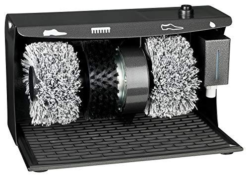 Profi Schuhputzmaschine mit rotierenden Bürsten | 2 Polierbürsten für helle und dunkle Schuhe | Reinigungsbürste | abnehmbarer Schuhcremespender | 120W | 40x24x26cm