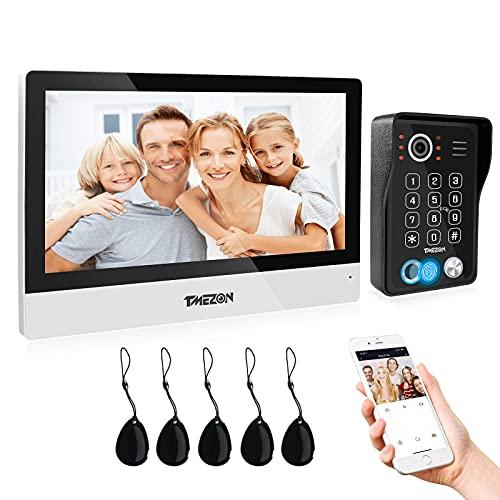 TMEZON Videoportero WiFi, Pantalla táctil de 10 zoll con timbre con cable 1080P,5en 1 APLICACIÓN/contraseña/huella digital/deslizamiento de tarjeta/Monitor,instantánea/grabación,Tuya Smart APP,4 hilos