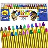 Pintura Facial y corporales, 16 Colores Pintura Corporal y Facial Body Paint, Maquillaje Carnival Set para niño, no tóxico, Easy on y Off (24 Colores)