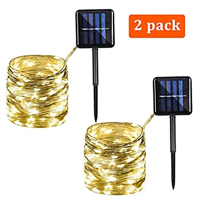 Solar String Lights Outdoor, 100 LED Solar Copper Wire Lights 33Ft 8 Modes Led Fairy Lights for Party, Garden, Gate, Christmas, Wedding (Warm White, 2 Pack)