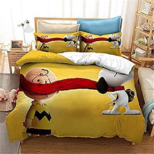 RITIOA - Set di biancheria da letto per bambini, Snoopy, morbido e soffice, con chiusura lampo, in microfibra, 1 copripiumino 200 x 200 cm + 2 federe 50 x 75 cm