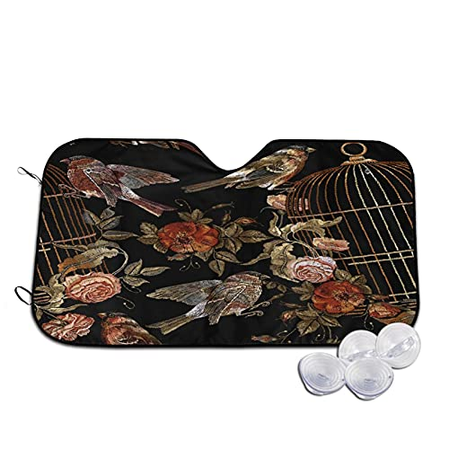 Car Sun Shade,Embroidery Vintage Birds And Birds Cage And F,Heat Prevention Windshield Sunshade UV Ray Sun Visor Protector 55'X29.9'