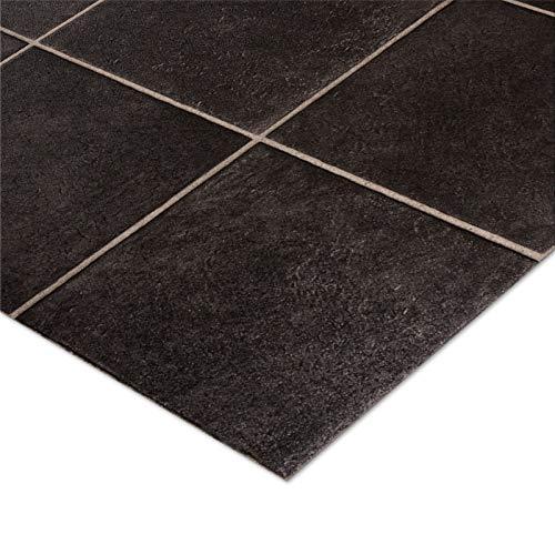 Suelo de vinilo de casa pura, estilo azulejo negro con patrón Málaga, 2 metros de ancho, 2 m x 1m, hasta 15m de largo, vinilo, negro, 200x200cm