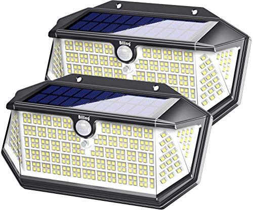 Biling Solarleuchten für den Außenbereich,266 LEDs mit Lichtreflektor, IP65 wasserdicht,Solar-Bewegungsmelder,Sicherheitslichter,3 Modi, kabellose Wandleuchten für Garten,Terrasse,Hof,Garage (2 Stück)