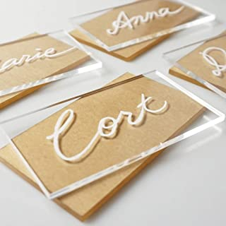 JINMURY 50pcs Clear Acrylic Place Cards for Weddings or Parties, Rectangle Acrylic Seating Place Cards Escort Cards DIY Guest Name Cards and Wedding Event Decoration, 3 1/2 x 2 inch