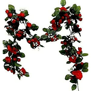 6ft Mini Rose Garland Artificial Fake Silk Flowers Wedding Arch Swag Backdrop Artificial Flower