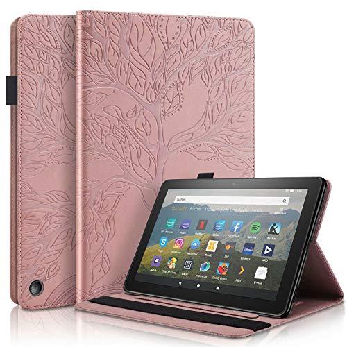 """KSHOP compatibile con Custodia tablet per Amazon Kindle Fire HD 8""""2020 / HD 8 Plus (10a generazione) Smart Case Cover Supporto magnetico super sottile e leggero Oro rosa"""