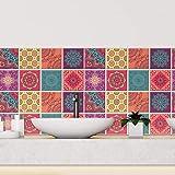 80 Sheets 6' x 6' Colourful Mandala Spanish Glossy 3D Peel and Stick Tile Stickers Kitchen Backsplash Stick on Subway Mosaics Tile Paint Water Heat Resistant Bathroom Kitchen Spring Easter Decoration