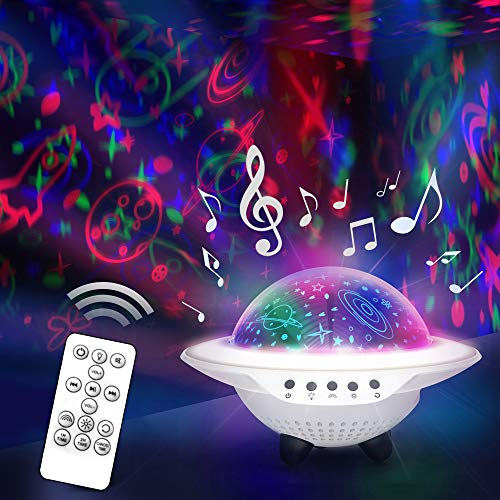 Star Night Light Projector for Kid's Room - Rotating Color-Changing Lamp with Remote Control - USB...