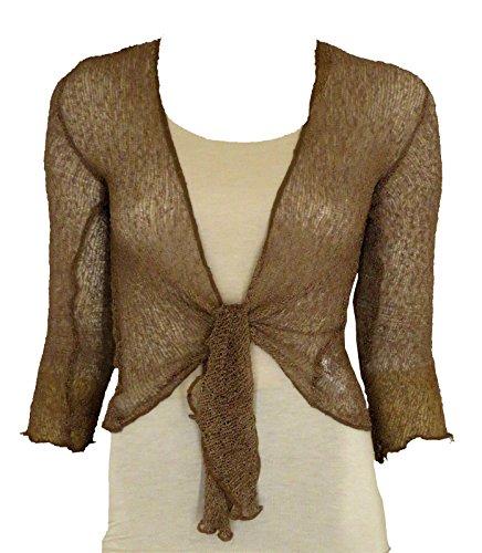 Bolero-Jacke, Strickware, schlicht, kurz, zum Schnüren, Braun One size