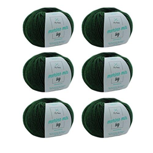 MyOma Merino Strickgarn - Merino Wolle tannengrün (Fb 3245) - 6 Knäuel grüne Wolle zum Stricken - Dicke Merinowolle – Lauflänge 50g/75m - Nadelstärke 6-7mm - weiche Wolle – Merinogarn