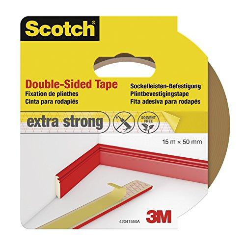 Scotch 42041550 Klebeband Sockelleisten-Befestigung, doppelseitig, 50 mm x 15 m, braun