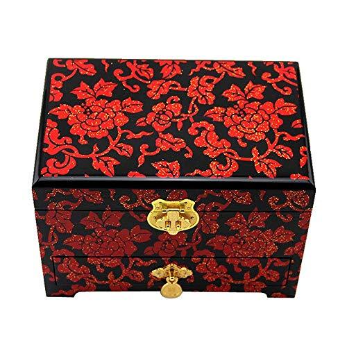 Caja de joyería Caja de joyería de Madera lacada con luz de Empuje Pintada a Mano Joyería de Madera de Laca Organizador de Almacenamiento Muebles orientales Chinos Regalos (Color : B)