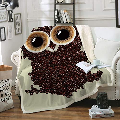 MegOK 3D Süße Eule elvet Plüsch Decke Kaffeebohnen Sherpa Decke für Couch Betten Tier cobertor para Inverno, 150 cm x 200 cm