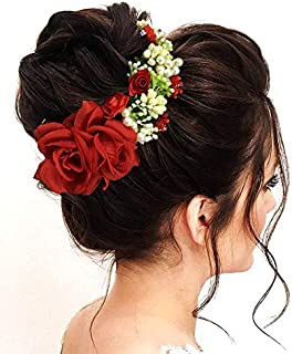 Hair Flare 2147 Women's Hair Pins Clips Hair Buns HairStyles Artificial Flowers Accessories For Weddings, Red