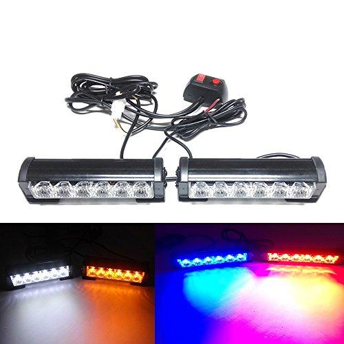 Viktion 12W 2 * 6 LEDs Feux de Pénétration Lumière Stroboscopique Eclairage Clignotant à 7 Modes pour Voiture Camion véhicule SUV DC12V (Bleu & Rouge)
