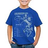 style3 PS1 Controlador Cianotipo Camiseta para Niños T-Shirt Videojuego videoconsola Classic Gamer, Color:Azul;Talla:140