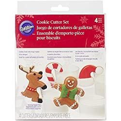 wilton cookie cutter set reindeer candy cane gingerbread man santa hat all made to hang off of a mug or cup