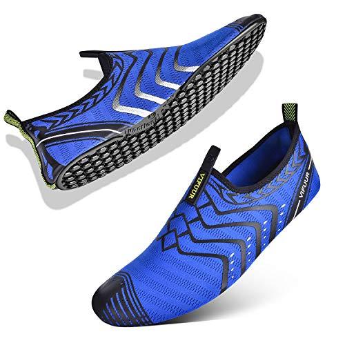 VIFUUR Womens Mens Water Shoes Comfortable Barefoot Shoes for Outdoor Beach Swimming Aqua Socks Blue 37/38