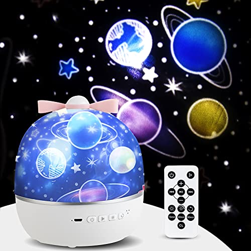 Rotatable Starry Projector Night Lights for Kids.Bluetooth Music lamp for Baby Bedroom.Birthday Gift for Girls and Boys.Stars, Moon and Galaxy can Help Children Sleep Better.