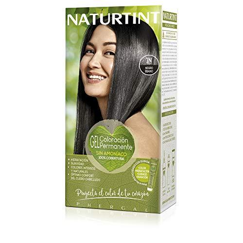 Naturtint Coloración 1N Negro Ébano, Tinte sin Amoniaco, 100% Cobertura de canas e Hidratación, Ingredientes y Aceites Vegetales, Sin Parabenes y Siliconas, Color Natural y Duradero - 170 ml