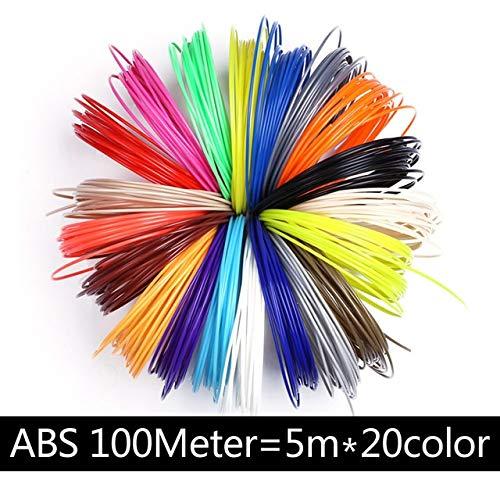 NOLOGO La Pollution de PLA 10 3D stylosanthes 20D 3D en Couleur Matériau Filament Plastique imprimé Cadeau d'anniversaire for Enfants Silk Material (Color : ABS 100M 20 Colors)