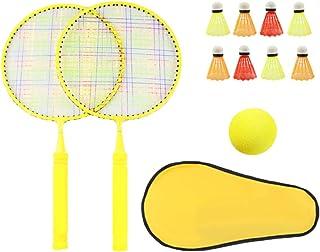 TOYANDONA 2 Player Badminton Rackets Set Kids Badminton Racquets Set with Ball Bag Junior Tennis Racquet Play Game Beach T...
