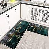 Alfombras Cocina Goma Alfombra de Baño Ducha 2PCS Elf con Wing Fairy Tale, alfombras de Cocina Antideslizantes Lavables