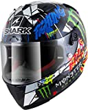 Shark Racing Pro Carbo Lorenzo Catalunya Dug - Casco de Moto (Negro/Azul/Verde, S)