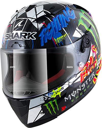 SHARK Herren NC Motorrad Helm, Schwarz/Blau/Grun, L
