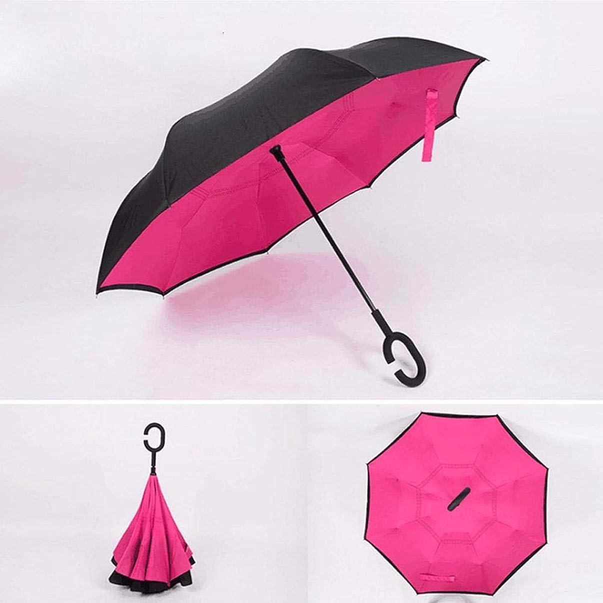 Taimot Double Layer Inverted Umbrella Folding Umbrella Windproof UV Protection Big Straight Umbrella with C-Shaped Handle for Car Rain Outdoor Use
