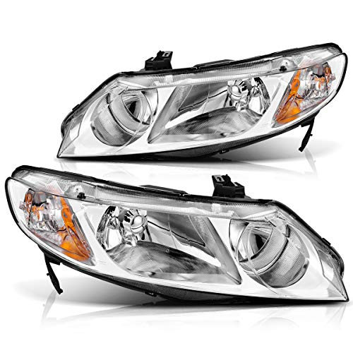 AUTOSAVER88 Headlight Assembly Compatible with 2006-2011 Honda Civic Sedan 4-Door Headlight Assembly, Headlamp Replacement with Chrome Housing and Amber Reflector