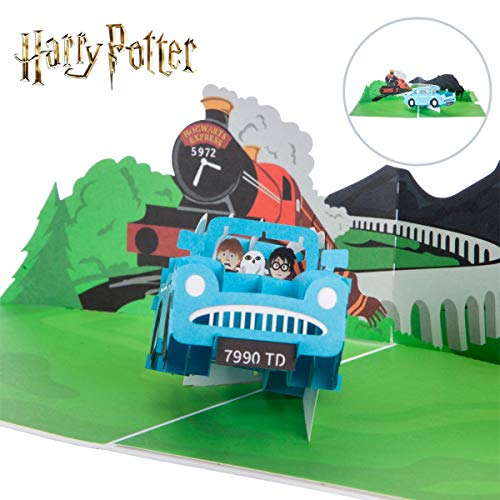 Harry Potter Verjaardagskaart | Ford Anglia 'Flying Car' Pop Up Card | Inclusief Zweinstein Envelop & Notitiekaart voor uw boodschap | Officieel gelicenseerd door Cardology