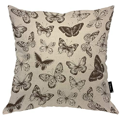 Beabes Throw Pillow Cover Butterflies Silhouette Vintage Style Hand Drawn Doddle Sketch Wings Animals Square Pillow Case Cushion Cover for Home Car Decorative Cotton Linen 18x18 Inch