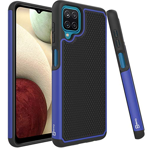 CoverON Grip Cover Designed for Samsung Galaxy A12 Phone Case, Slim Dual Layer Hybird Rugged - Blue