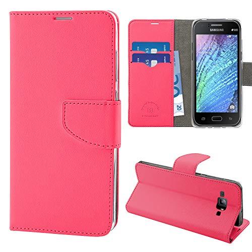 N NEWTOP Cover Compatibile per Samsung Galaxy J1, HQ Lateral Custodia Libro Flip Chiusura Magnetica Portafoglio Simil Pelle Stand (Fucsia)