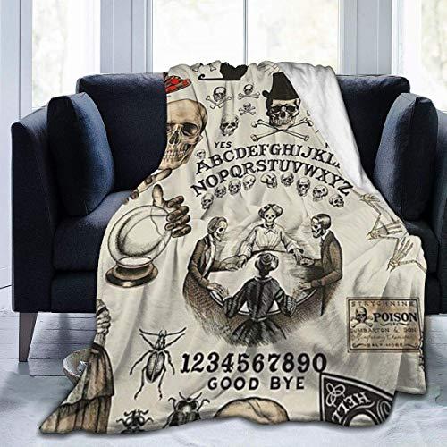 Searster$ Fleece Blanket Dolcetto O Scherzetto Ouija Skulls Crossbones Micro Pile Flanella Coperte Da Tiro Leggero Super Soffice Coperta Da Letto Divano Adatto Per Tutte Le Stagioni 50X40In
