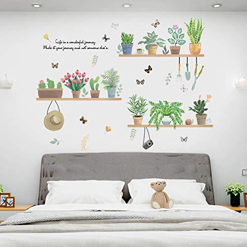 LeeyplTM muursticker, motief plant in vaas, groen, voorkomt water, afneembaar, voor kantoor, woonkamer, slaapkamer, achtergrond voor muur, als verjaardagscadeau