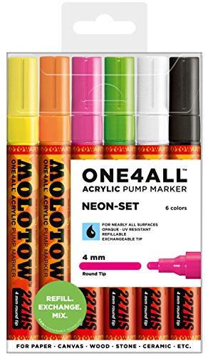 Molotow One4All 227HS Acrylstifte (Neon-Set, 4 mm Spitze, hochdeckend und permanent, UV-beständig, für fast alle Untergründe) 6 Stück sortiert