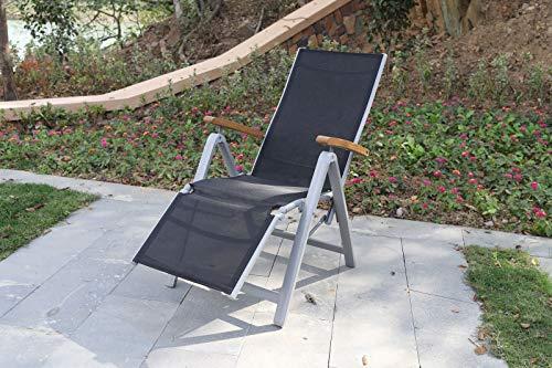 Villana Relaxsessel, Silber/schwarz, Alu/Textilene, 66 x 60 x 111 cm, FSC Akazienholz Armlehnen