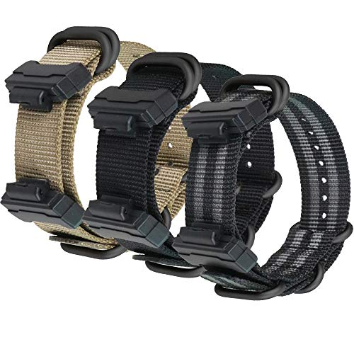 NATO Style Strap Compatible with Casio G-SHOCK DW6900/DW5600/GW9400/GW100/GA100/GD120 Bands, Soft Nylon Wristband Replacement Bracelet with Buckle Connector Accessories (Z3-KABKGY)